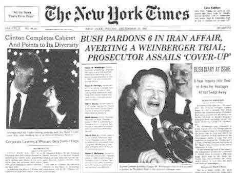 nyt bush pardons in iran contra