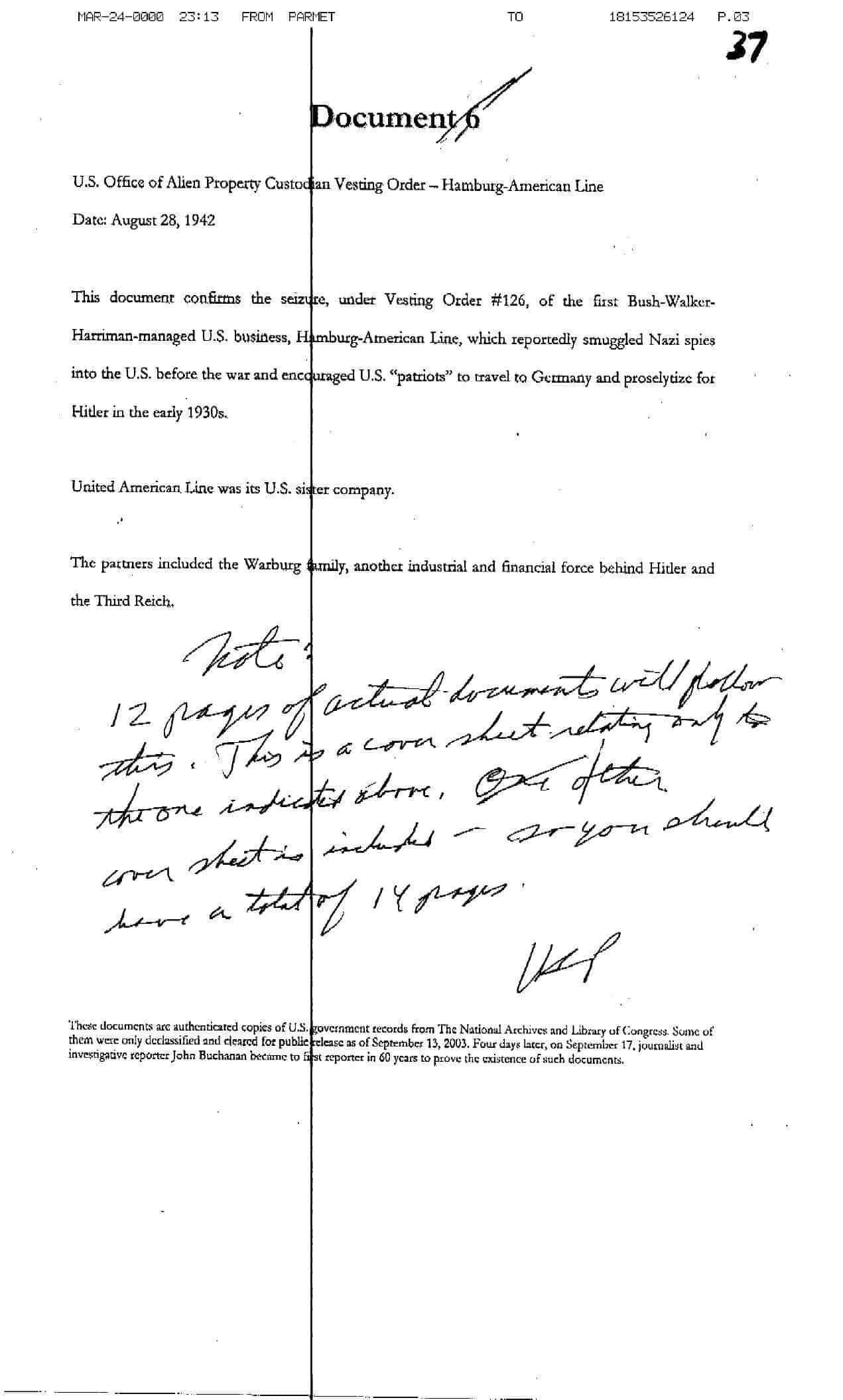 vesting order to seize hamburg americal line