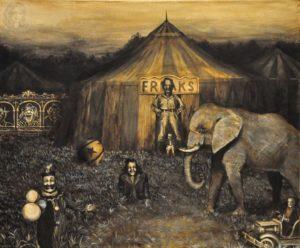 freakshow Creepy Art creepy circus by nickmears traditional art paintings